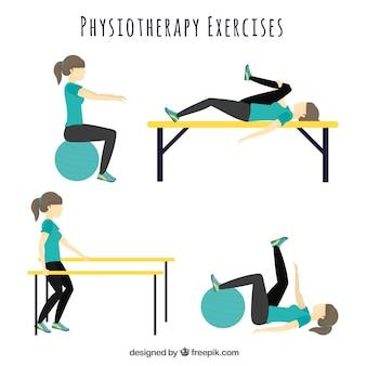 Variedad de ejercicios de fisioterapia