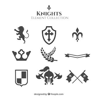 Variedad elegante de elementos medievales