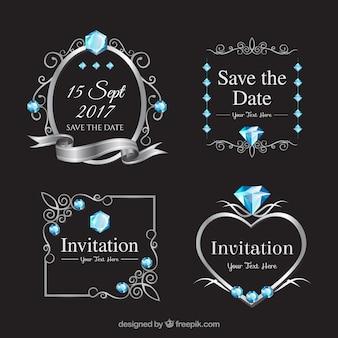 Variedad elegante de etiquetas de boda con diamantes
