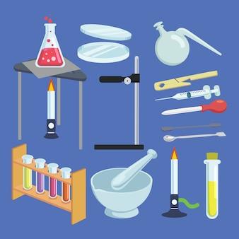 Variedad de elementos elementales de los laboratorios de ciencias.