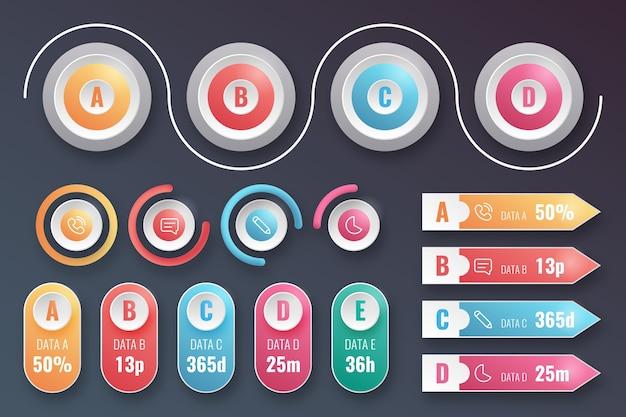 Variedad de elementos de infografía realistas.