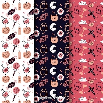 Variedad de elementos con patrones sin fisuras de gato y calavera