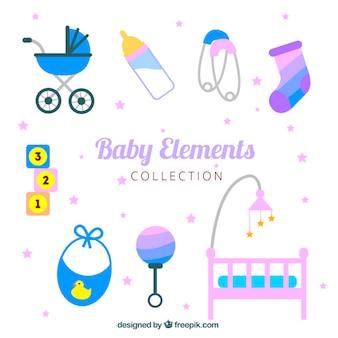 Variedad de elementos planos de bebé