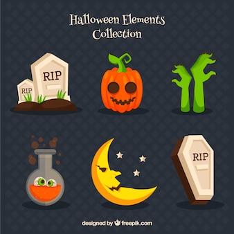 Variedad de elementos relacionados con halloween