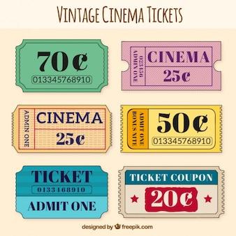 Variedad de entradas de cine vintage