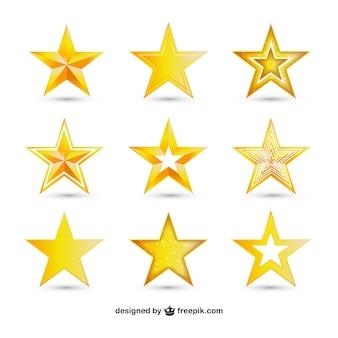 Variedad de estrellas de oro