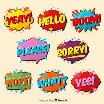 Variedad de expresiones de burbujas de discurso colorido cómico