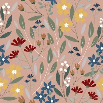 Variedad floral en patrón de fondo rosa