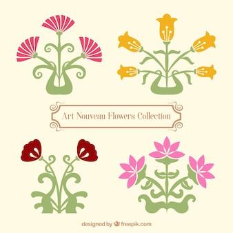 Variedad de flores de art nouveau