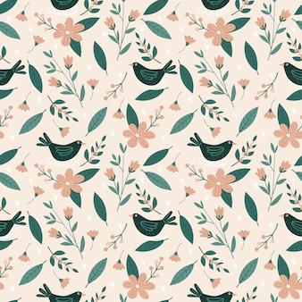 Variedad de flores, hojas y pájaros de patrones sin fisuras