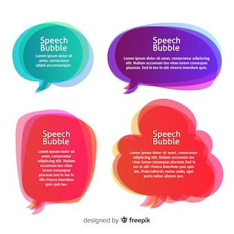 Variedad de formas con colección de burbujas de discurso degradado