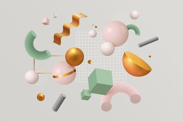 Variedad de formas geométricas coloridas y racimo de pequeños cuadrados.