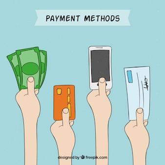 Variedad de formas de pago dibujado a mano