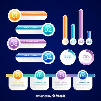 Variedad de gradiente infografía y cuadros de texto.