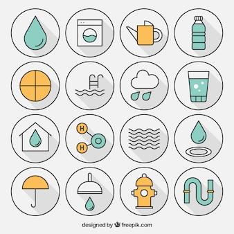 Variedad de iconos de agua
