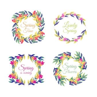 Variedad de insignias de acuarela para la temporada de primavera.