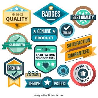 Variedad de insignias en estilo plano