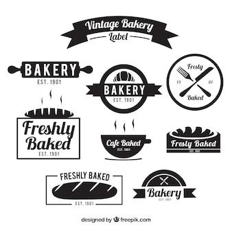 Variedad de insignias de panadería vintage