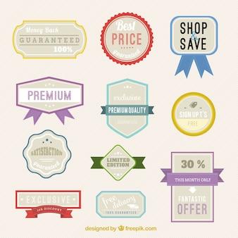 Variedad de insignias de tienda