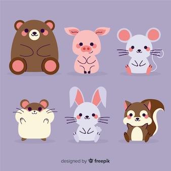 Variedad de lindos animales sentados colección
