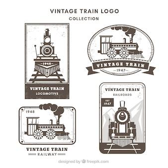 Variedad de logos de trenes en estilo vintage