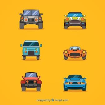 Variedad moderna de coches dibujados a mano
