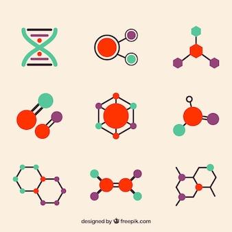 Variedad moderna de moléculas coloridas
