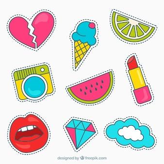 Variedad moderna de pegatinas coloridas