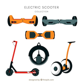 Variedad moderna de scooters eléctricos