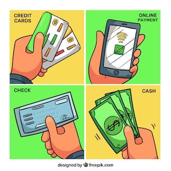 Variedad de modos de pago dibujados a mano