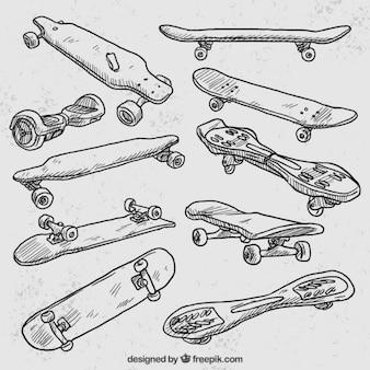 Variedad de monopatines dibujados a mano