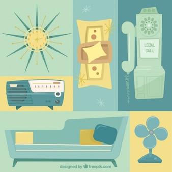 Variedad de muebles y objetos vintage