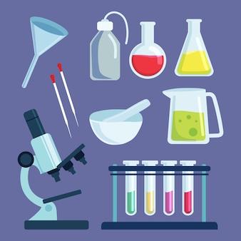 Variedad de objetos básicos de los laboratorios de ciencias.