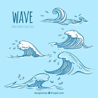 Variedad de olas dibujadas a mano con geniales diseños