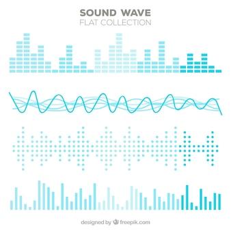 Variedad de ondas sonoras planas en tonos azules