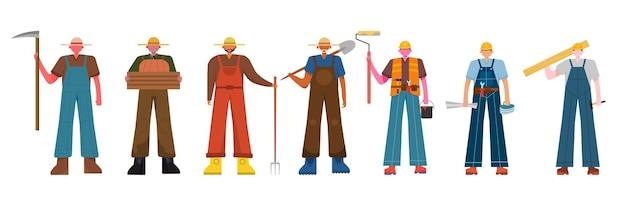 Una variedad de paquetes de trabajo para albergar trabajos de ilustración, como agricultor, operador