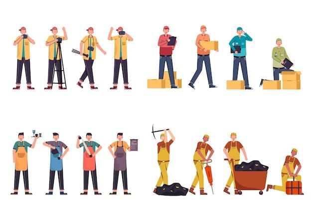 Una variedad de paquetes de trabajo para albergar trabajos de ilustración, como fotógrafo, repartidor, barista, minero.