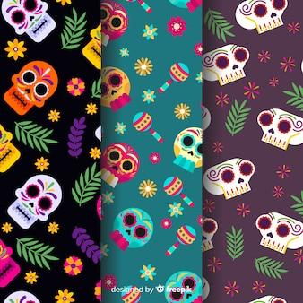 Variedad de patrón de dia de muertos