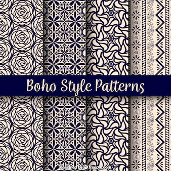 Variedad de patrones boho con diseños bonitos