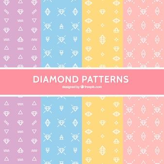 Variedad de patrones de diamantes planos en colores pastel