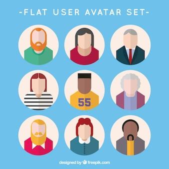 Variedad plana del avatar del usuario