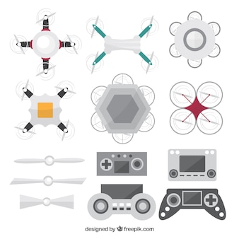 Variedad plana de elementos de drones