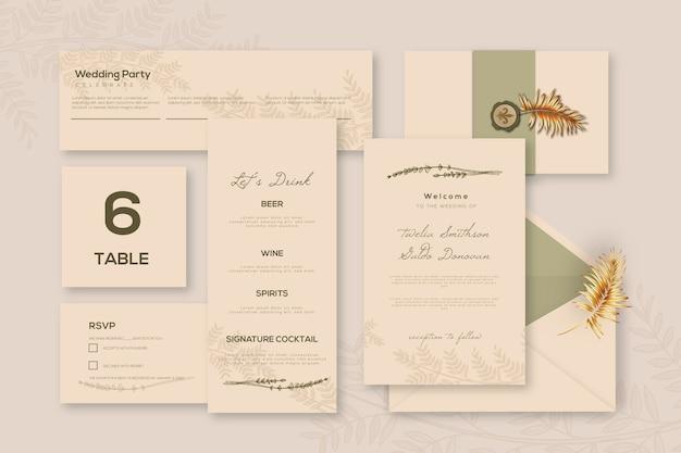 Variedad de plantilla de papelería de boda