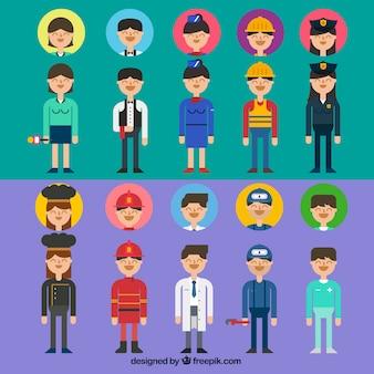 Variedad de profesiones avatares