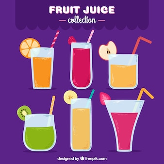 Variedad de seis zumos de fruta dibujados a mano