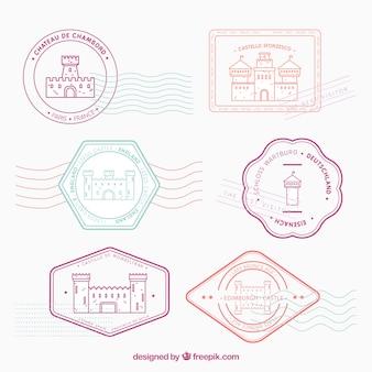 Variedad de sellos postales con castillos