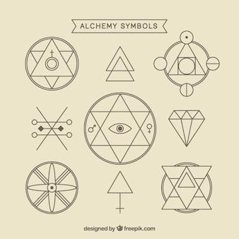 Variedad de símbolos de alquimia con contorno