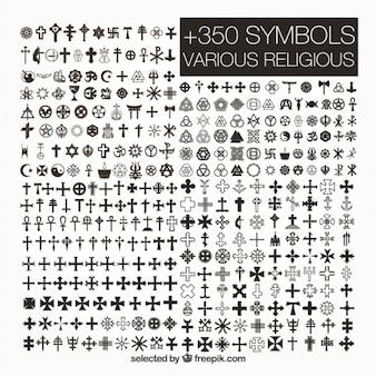 Variedad de símbolos religiosos