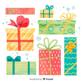 Variedad de tamaños y formas de cajas de regalo de navidad.
