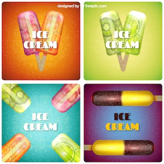 Variedad de tarjetas retro con helados de fruta